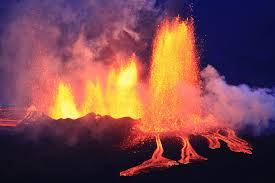 Holuhraun lava field at night.