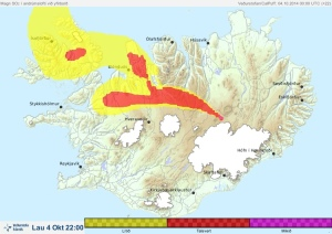 1. Map of current SiO2 cloud coming from the fissure site.